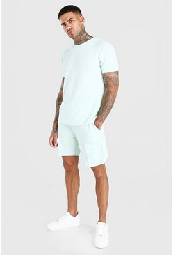 Sage MAN Signature Jacquard T-Shirt & Pintuck Short Set