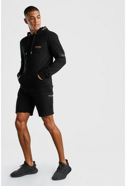 Black MAN Official Cargo Hooded Short Tracksuit