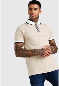 Taupe Short Sleeved Pique Zip Polo With Tipping