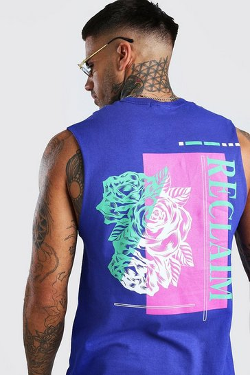 Purple Rose Back Print Drop Armhole Tank