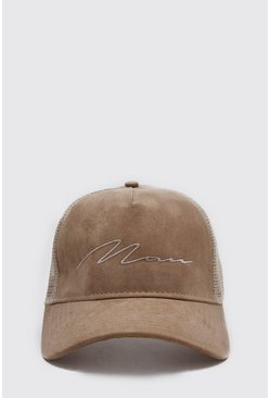 Taupe MAN Script Faux Suede Trucker