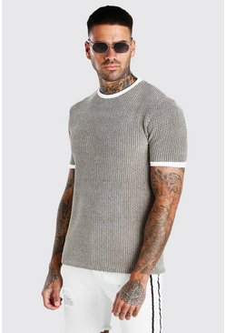Beige Regular Fit Geo Knitted T-Shirt