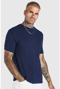 Navy Textured Knitted T-Shirt With Faux Layer