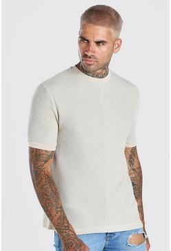 Stone Textured Knitted T-Shirt With Faux Layer