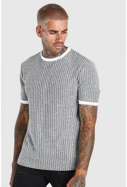 Silver grey Ribbed Knitted Faux Layer T-Shirt