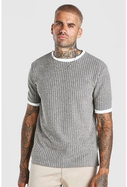 Stone Ribbed Knitted Faux Layer T-Shirt