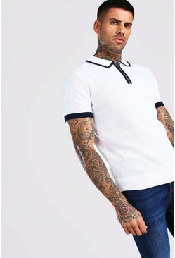 Cream Short Sleeve Half Zip Knit Polo With Tipping