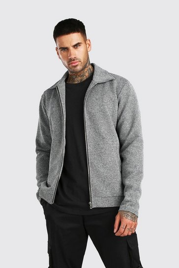 Grey marl Zip Through Textured Knitted Harrington Jacket