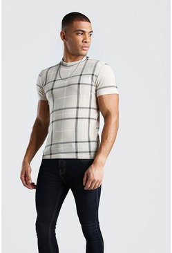 Beige Short Sleeve Stand Collar Check Knitted T-Shirt