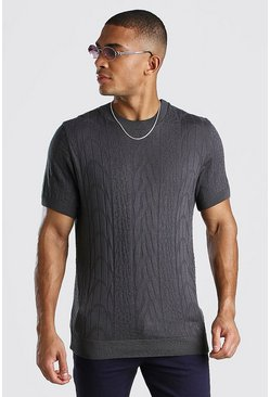Grey Textured Knitted T-Shirt
