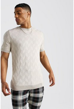 Stone Textured Knitted T-Shirt