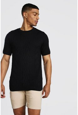 Black Textured Knitted T-Shirt