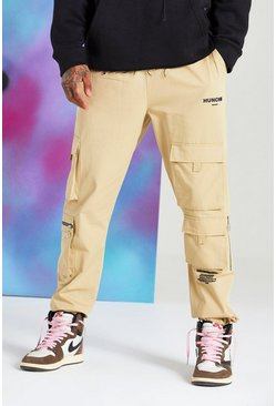 Stone Quavo Cargo Trouser With Drawcord Cuff