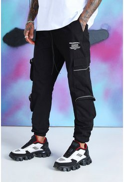 Black Quavo Cargo Pants With Zip Pockets