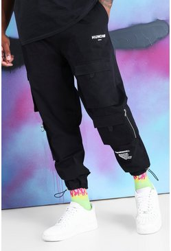 Black Big And Tall Quavo Cargo Drawcord Cuff Trouser