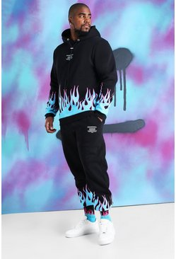 Black Big And Tall Quavo Flame Print Tracksuit