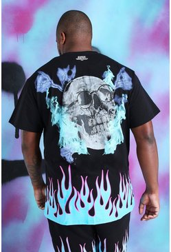 Big And Tall - T-shirt Quavo tête de mort et flammes, Noir