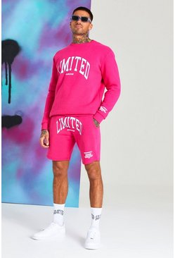 "Quavo Short-Trainingsanzug mit ""Limited""-Print, Rosa"