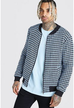 Powder blue Wool Look Houndstooth Bomber Jacket