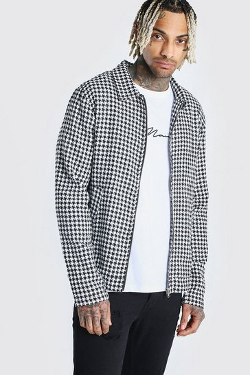 Black Wool Look Houndstooth Harrington Jacket