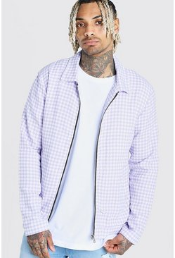 Lilac Wool Look Houndstooth Harrington Jacket