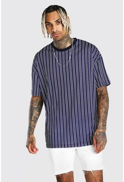 Navy Oversized Vertical Stripe T-Shirt