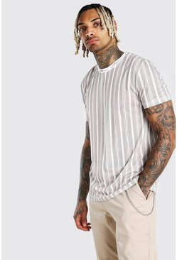Taupe MAN Signature Vertical Stripe T-Shirt