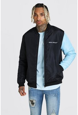 MAN Official Padded Colour Block Sleeve Bomber, Blue
