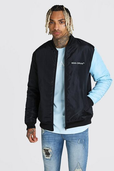 Blue MAN Official Padded Colour Block Sleeve Bomber
