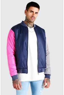 MAN Official Colour Block Padded Bomber, Navy
