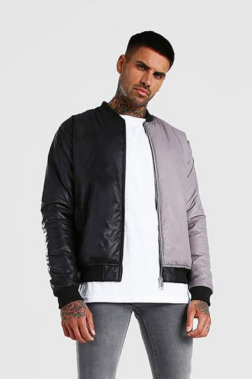 Black MAN Official Half And Half Colour Block Bomber
