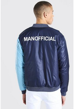 Bomber de media mitad de bloques de color MAN Official, Azul marino