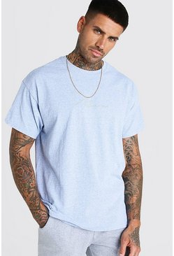 MAN Signature Blau meliertes Oversized-T-Shirt