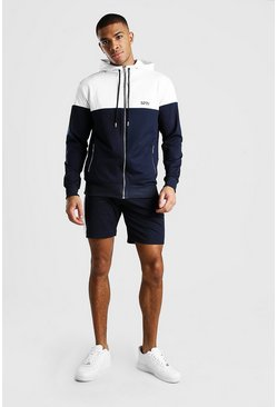 Navy Original MAN Colour Block Short Tracksuit
