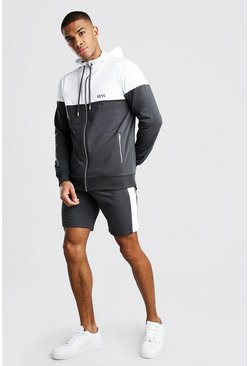 Charcoal Original MAN Colour Block Short Tracksuit