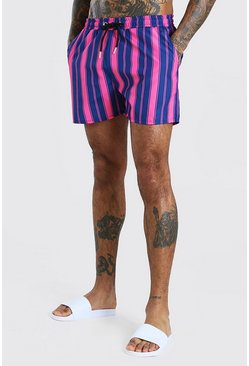 Mid Length Stripe Swim Shorts, Pink