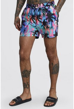 Pink Mid Length Swim Short In Palm Print
