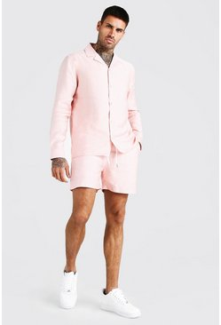 Pink Long Sleeve Smart Shirt And Short Set
