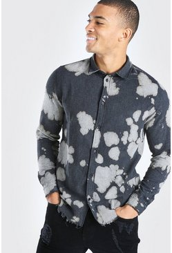 Grey Long Sleeve Raw Hem Bleached Shirt