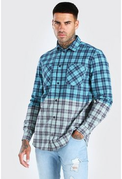 Teal Long Sleeve Ombre Check Shirt
