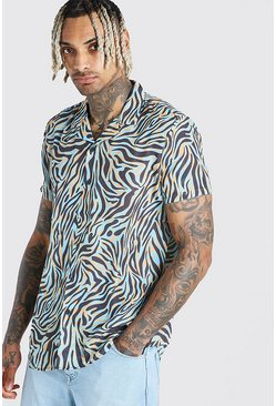 Blue Short Sleeve Revere Collar Zebra Print Shirt