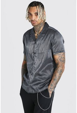 Black Short Sleeve Revere Collar Party Shirt