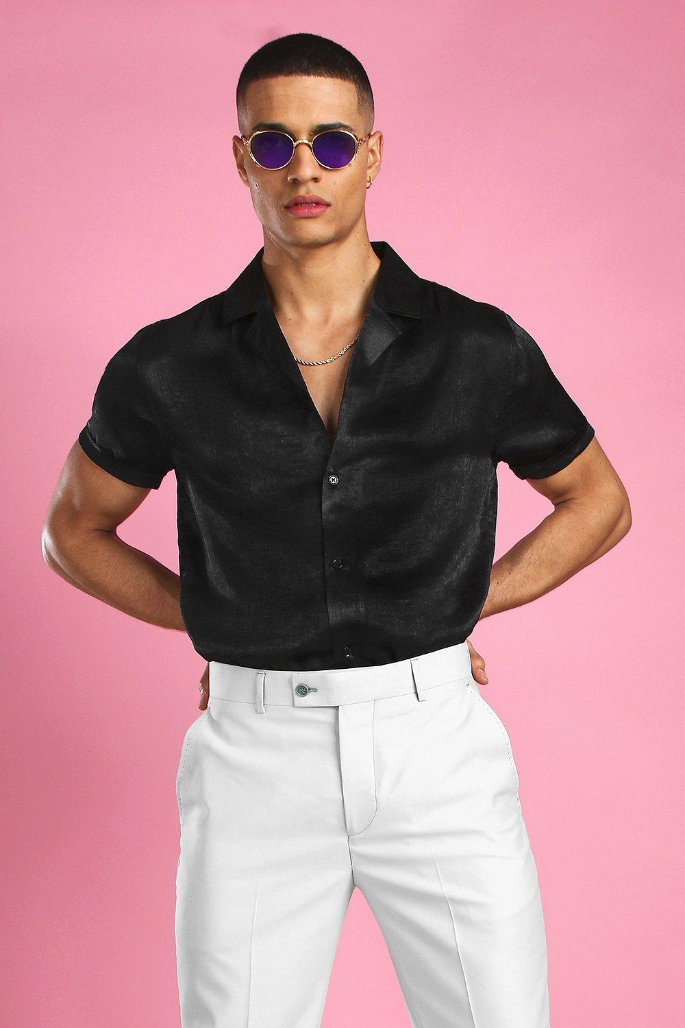 60s 70s Men's Clothing UK | Shirts, Trousers, Shoes Mens Short Sleeve Revere Collar Satin Party Shirt - Black $17.50 AT vintagedancer.com