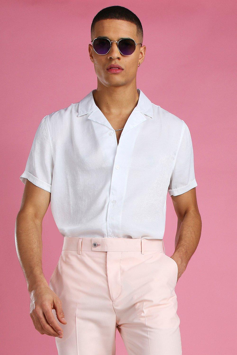 60s 70s Men's Clothing UK | Shirts, Trousers, Shoes Mens Short Sleeve Revere Collar Satin Party Shirt - White $16.00 AT vintagedancer.com