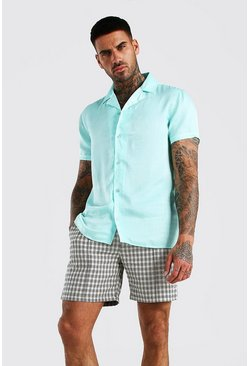 Mint Short Sleeve Revere Collar Satin Party Shirt
