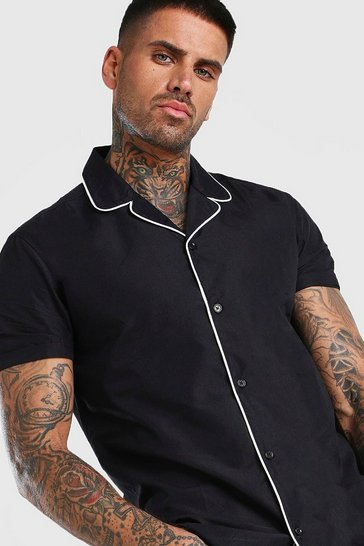 Black Short Sleeve Revere Collar Shirt With Piping