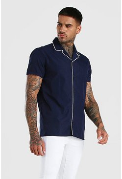 Navy Short Sleeve Revere Collar Shirt With Piping