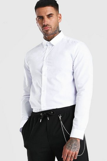 White MAN Official Back Neck Embroidered Shirt