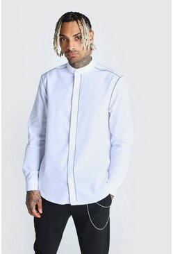 White Reflective Piping Grandad Collar Shirt