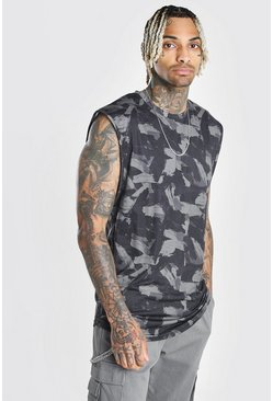 Black MAN Official Brushed Camo Print Drop Arm Hole Tank